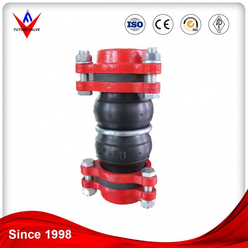 fitting pipe reducing Double Bellow expansion flexible spherical rubber joint