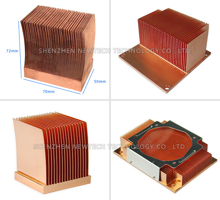 2016 professional factory 72mm skived copper custom heatsink heat sink