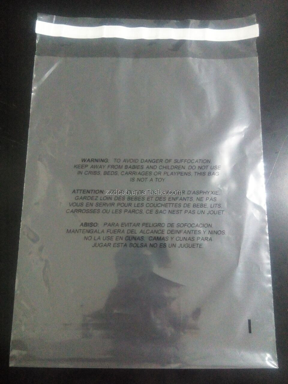 Transparent Plastic LDPE Polybag With Suffocation Warning Printing & Adhesive Strip