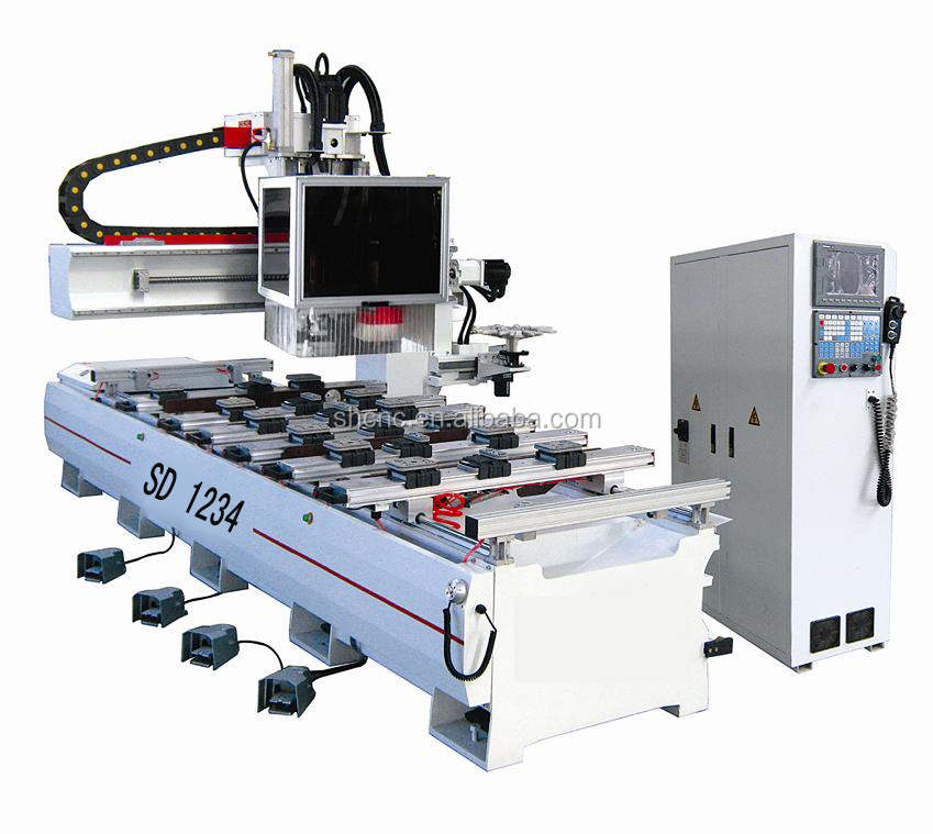 Side Drilling Singal Arm Wood Furniture CNC Router With Italy HSD Dril Head Japan Servo