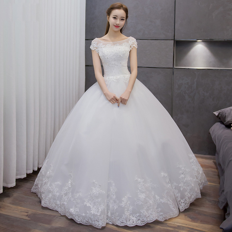 Puffy White Bridal Cap Sleeve Sweet Princess Crystal Beading Prom Ball Gown Wedding Dress