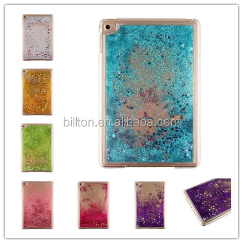 different fashion moving liquid glitter stars pc case for ipad mini 4 shiny case