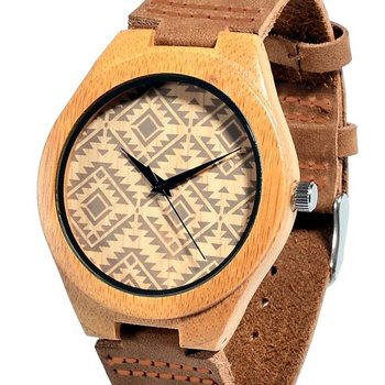 Soft Leather Strap Unisex with miyota 2035 movement Wooden Watches Bamboo