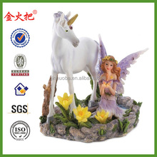 Forest magic fairy and white unicorn