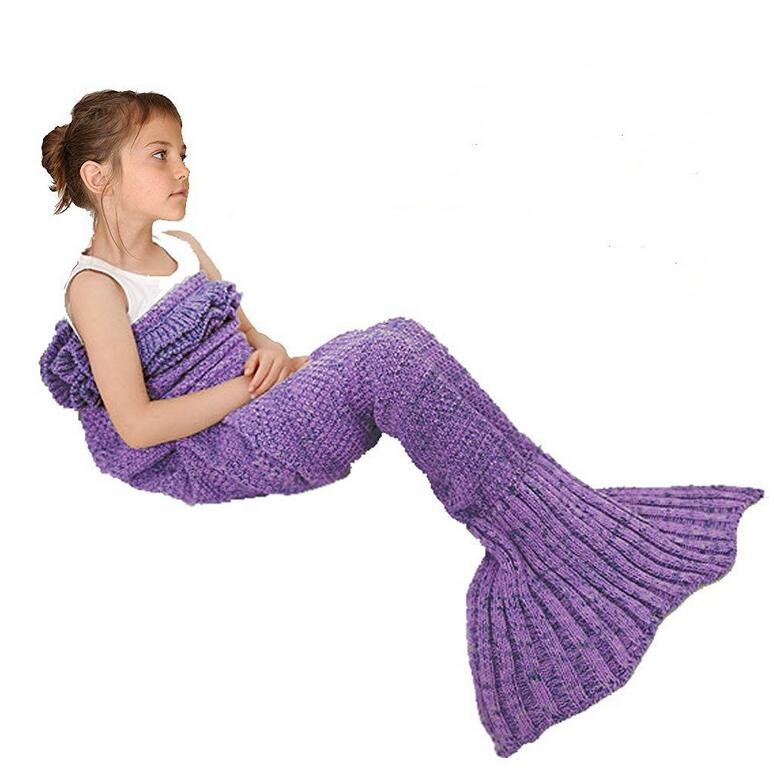 Christmas gift soft and warm blanket with frills mermaid tail pattern cotton crochet knitted for kids