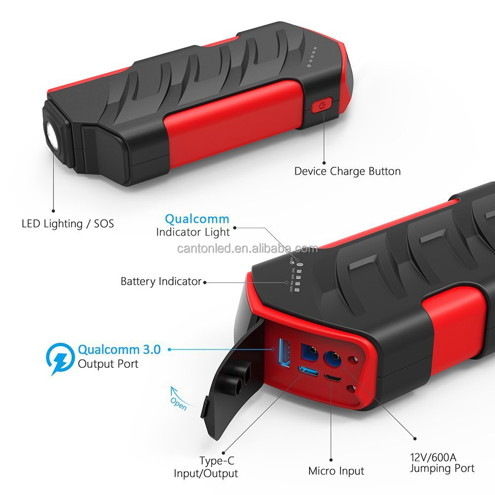 Portable Car Jump Starter(up to 6L Gas, 4L Diesel Engine) Battery Booster and Phone Charger back up power