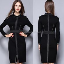 long sleeve formal clothing women wear black cotton dresses ladies wholesale dropship one piece dress pattern