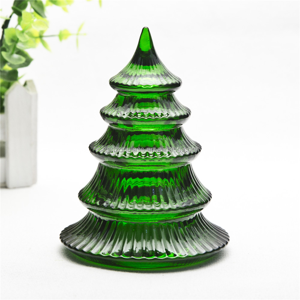 Indoor glass home decor Chistmas tree shape christmas decoration for home