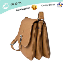 Versatile & stylish Mini Leather Ladies Messenger bag Shoulder bag with three section in Camel-HB-127