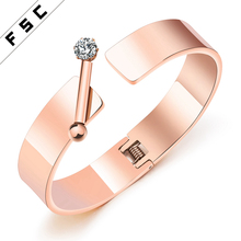 Fashion Import Jewelry From China Women Gold Bracelet Designs Zircon Stainless Steel Bangle