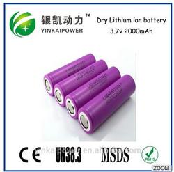 3.7v 2000mAh Nominal Voltage and lithium ion battery ICR 18650 rechargeable