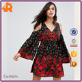 China Manufacturer Women Fashion Floral Print Cold Shoulder Dress