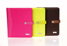 New product 2015 A4 A5 fashion color leather portfolio with power bank