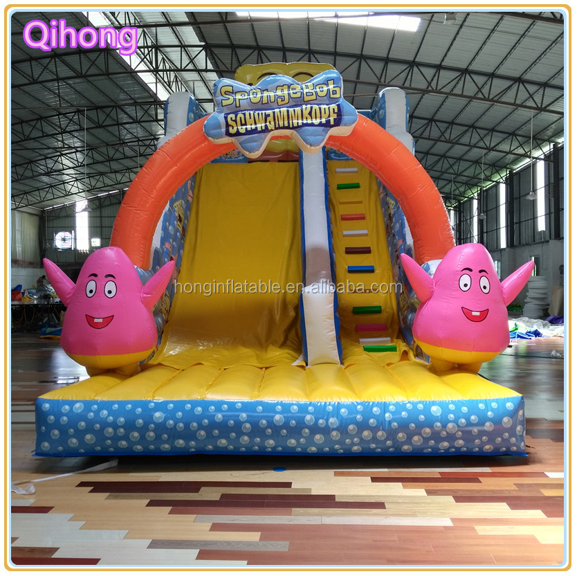 China Guangzhou cheap spongebob inflatable water slide for sale, best quality inflatable slide rent in dubai