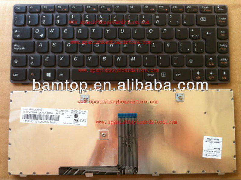 Teclado for Lenovo G480 G480A G485 B590 BLACK with frame Spanish/SP/LATIN/LA LAPTOP keyboard MP-10A26LA-6868W 25207401