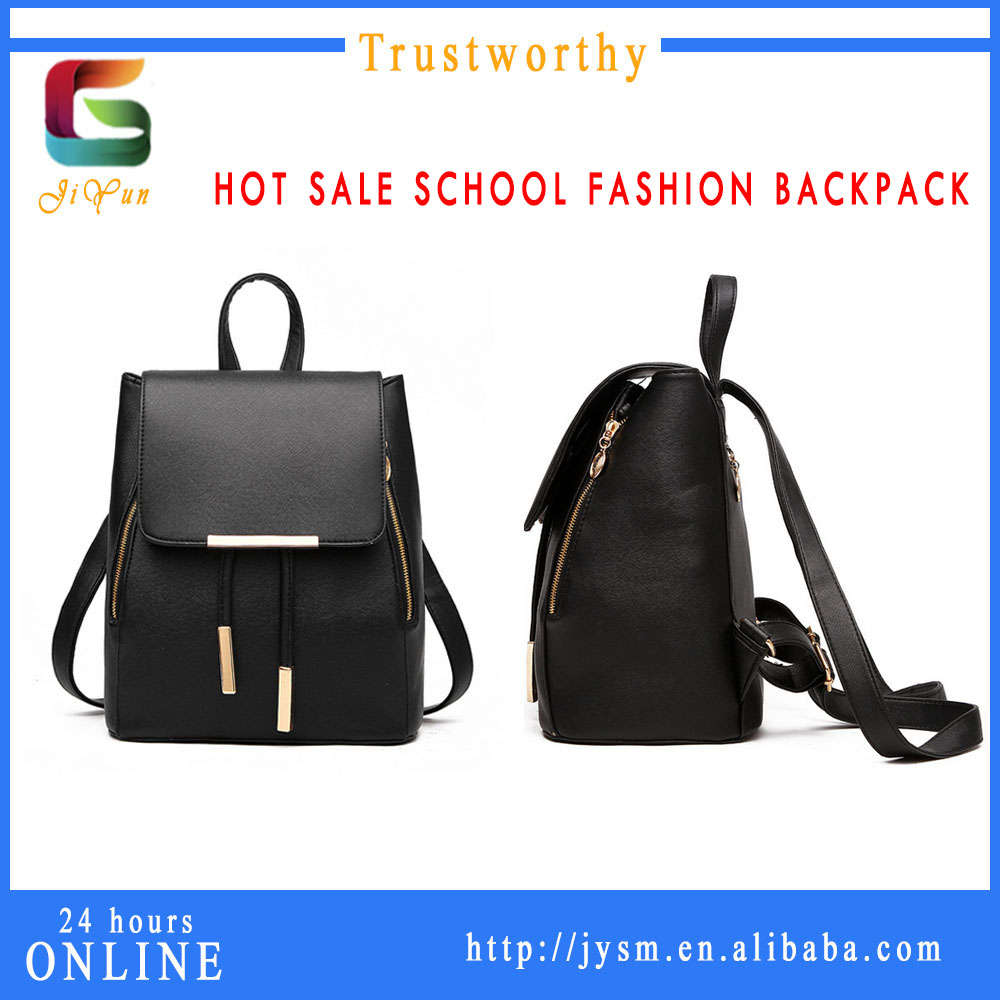 New Designer Women Teens Girls Preppy Style School Bag Pu Ladies High Quality Custom Black Fashion Backpack Mochila
