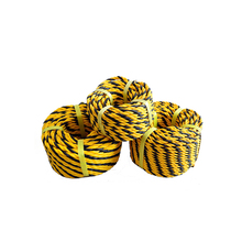 Yellow and black twisted 3 strands braided pe 16mm tiger rope