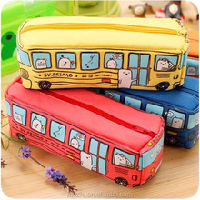Kids Canvas Realistic Bus Shaped Cute Pencil Case with Zipper