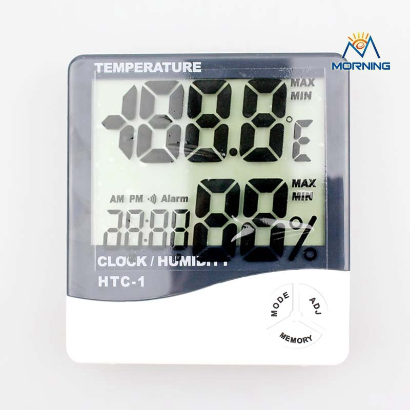 ME-HTC-1 Factory Price LCD Display Hygrometer with Clock,for household usage