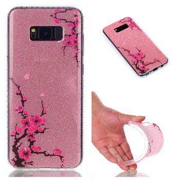 Ultra Slim Soft TPU Patterned Shiny Shine IMD Glitter Back Case Cover for Samsung Galaxy S8 Plus