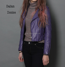 lamb leather jacket purple short jacket for women
