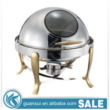 Commercial Economy Cater Buffet Hotel Fuel Warm Gold Plated 6L Hydraulic Window Lid Round Stainless Steel 9L Oblong Chafing Dish