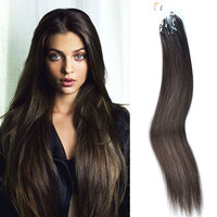 Cheap Straight Hair Weave! Long Black Straight Hair ,Remy Micro Ring Loop Hair Extensions