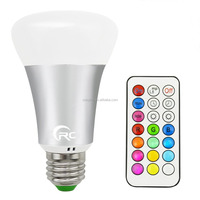 10W Color Changing Dimmable E27 Base 85-265V 900LM Cool White RGBW LED Bulb With Remote Control