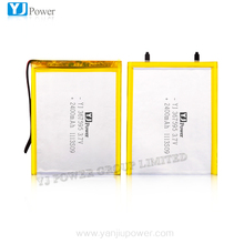 battery supplier ce rohs ul standard 2400mAh 3.7V polymer rechargeable battery for digital electronic product