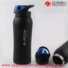 Stainless Steel Sports Drinking Bottle,Black Portable Water Bottle with Logo Design