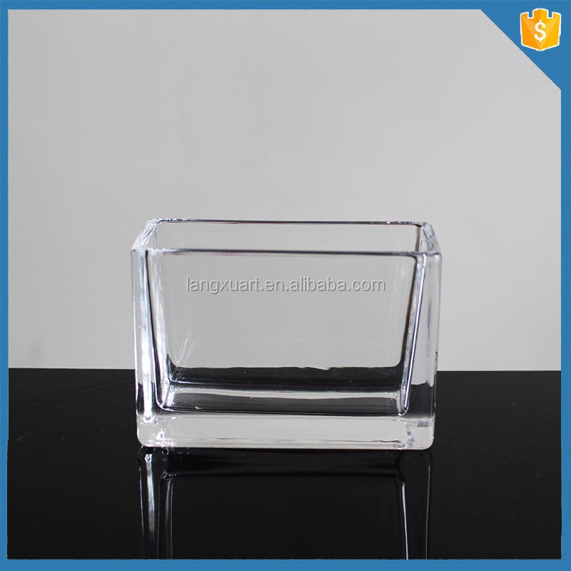 Handmade rectangle plain clear glass napkin holders