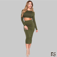 2016 Sexy Women 2Piece Sexy Bodycon Long Sleeve Backless Bandage Party Dress