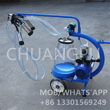 Semi-Automatic Dry Vane Pump Mobile Milking Machine with Single Transparent Milk Bucket