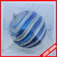 outdoor plastic blue and white special glitter large christmas balls