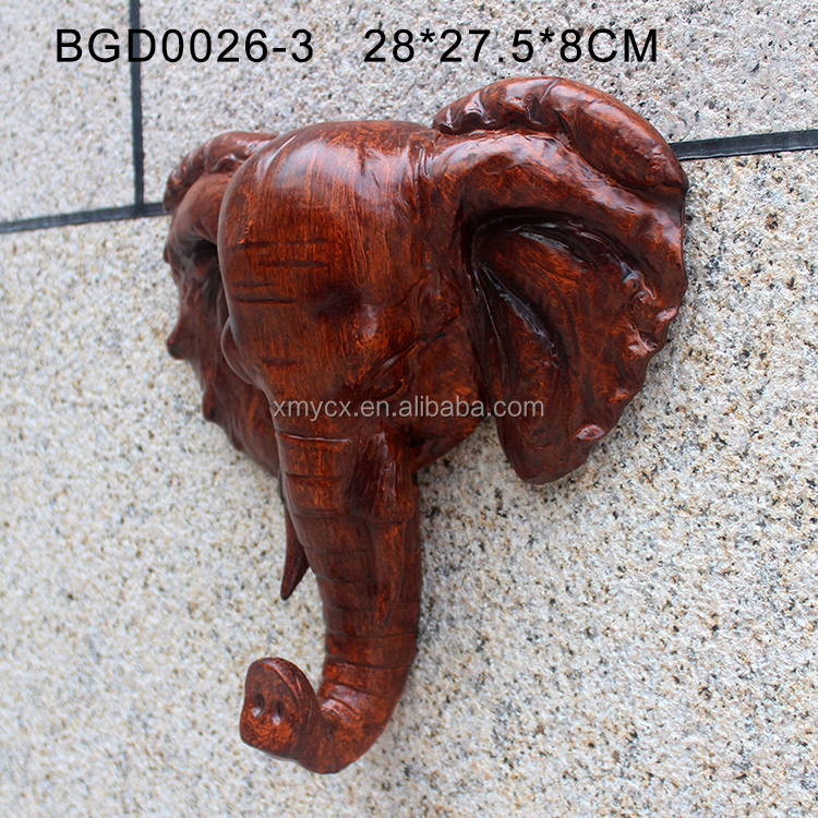 Imitation resin craft decorative wooden elephant head for sale