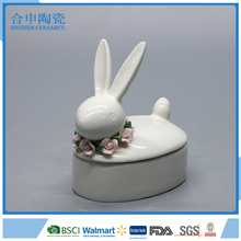 Creative gifts decorative small ceramic jewelry box with rabbit