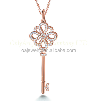 lady engagement key pendant 14K rose gold jewelry