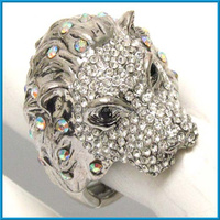 vintage antique silver crystals stud lion head animal stretch ring
