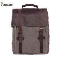 4 Colors Soft Waxed Drawstring Vintage Dark Gray Candy Color Canvas with Leather Backpack 1820