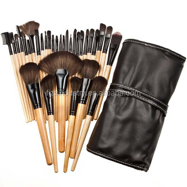 100% original brand 32 pieces of Professional wood Makeup Brushes Kit Cosmetic kit with a Pouch Case