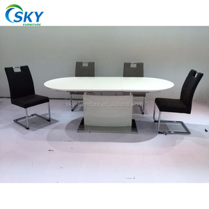 white extendable high gloss dining table set