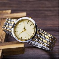 2016 gold mechanical quartz stainless steel watch water resistant
