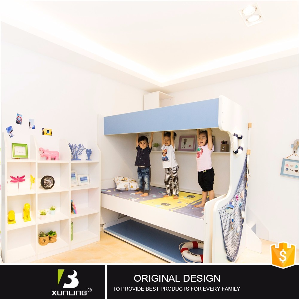 Multifunction Folding Mechanism Single Bunk Bed With Desk