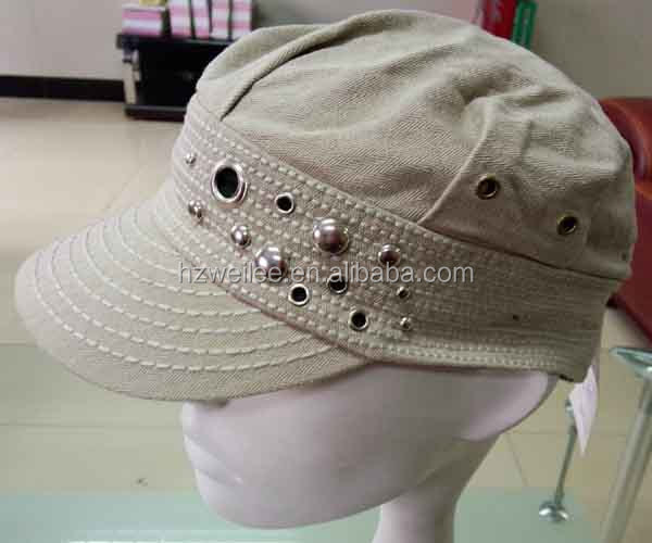 WLLS030323 100%Cotton plain khaki baseball cap with silver studs