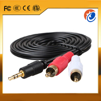 High quality 3m 24k gold plated 3.5mm stereo male plug to 2 RCA male audio cable