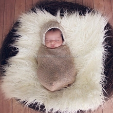 Newborn Photography Blanket Baby Long Shag Faux Fur Basket Stuffer Blanket Photo Prop Backdrop Posing Blanket