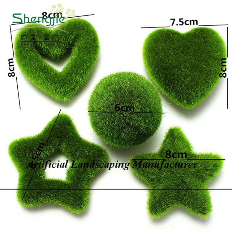 different style fake green color moss topiary,garden decoration moss topiary