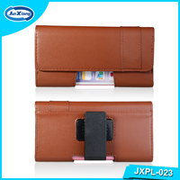 Universal Belt Clip Leather Flip Holster Mobile Phone Pouch for Samsung