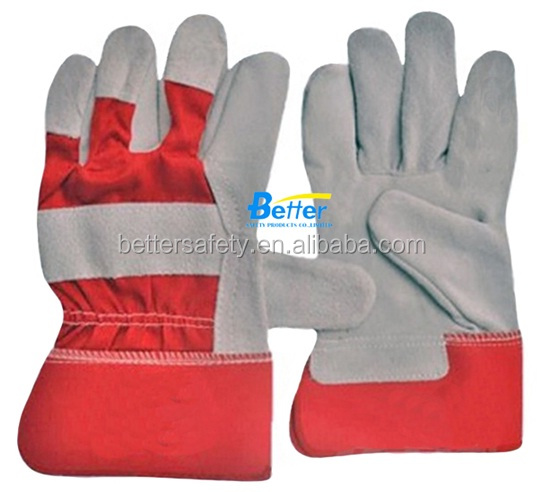 Red Cotton Back Full Palm Cow Split Leather Work Glove construction safety