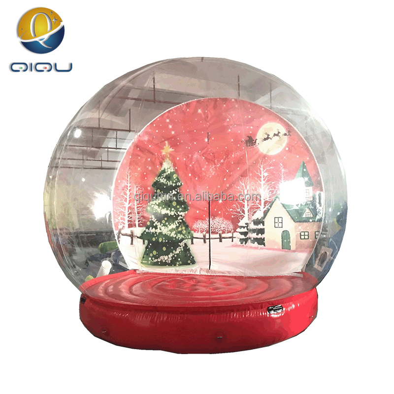 Excellent quality xmas decoration transparent photo snow chritmas snow globe, inflatable snow ball, transparent globe for photo